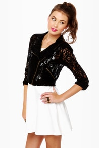 Motorella Black Lace Motorcycle Jacket at Lulus.com!