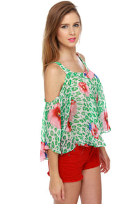 Mahalo Mama Green Floral Print Top at Lulus.com!