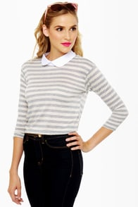 A Fine Line Grey Striped Top at Lulus.com!