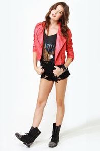 Thriller Coral Red Vegan Leather Jacket