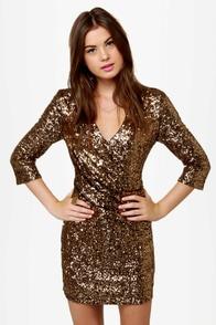 Solid Gold Dancer Gold Sequin Dress
