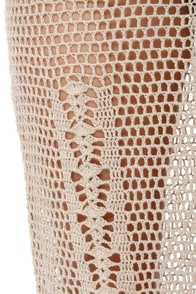 Think Nettin' of It Beige Crochet Dress at Lulus.com!