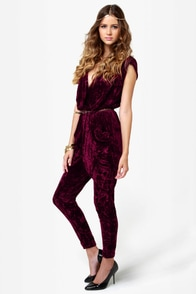 Gypsy Junkies Ziggy Disco Wine Red Velvet Jumpsuit at Lulus.com!