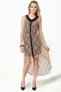 Lace-ies First Taupe Lace Dress at Lulus.com!