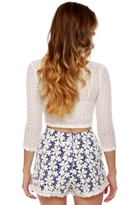 Daisy May Blue and White Lace Shorts at Lulus.com!
