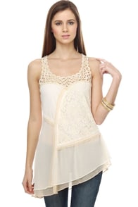 Valenciennes Ivory Lace Tank Top
