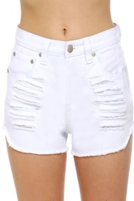 Mink Pink Slasher Flick White Cutoff Jean Shorts at Lulus.com!