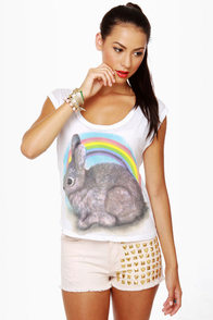 Local Celebrity Rainbow Bunny Muscle Tee at Lulus.com!