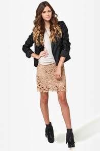 Romantic Getaway Beige Lace Skirt