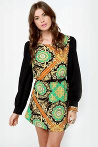 British Invasion Black Scarf Print Shift Dress