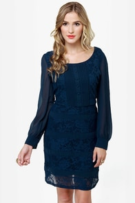 Donwell Abbey Navy Blue Lace Dress