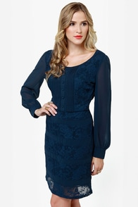 Donwell Abbey Navy Blue Lace Dress at Lulus.com!