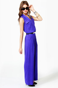 Long Time No Sleeve Blue Jumpsuit at Lulus.com!