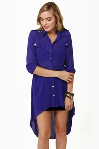 Double Date Sheer Blue Tunic Top at Lulus.com!