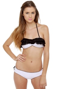 Mandalynn Gia Black and White Ruffle Bikini at Lulus.com!