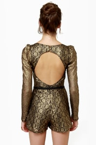 Sunset Hills Black and Gold Belted Lace Romper at Lulus.com!