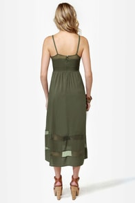Fresh Rosemary Olive Green Midi Dress