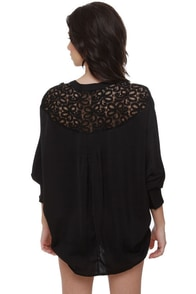 Dark Horse Lace Black Top at Lulus.com!