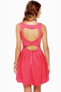 Heart-ware Store Cutout Coral Pink Dress at Lulus.com!