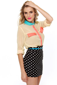 Dotted Bliss Cream Color Block Top at Lulus.com!