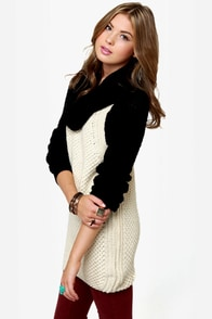 Black Sheep Beatnick Black and Cream Cowl Neck Sweater at Lulus.com!