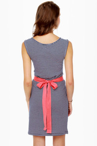 Lost Maude Navy Blue and White Striped Dress at Lulus.com!