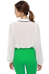 What a Doll Ivory Button-Up Top at Lulus.com!