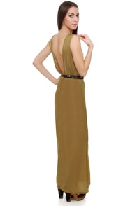 Gypsy Junkies Angelina Backless Olive Maxi Dress