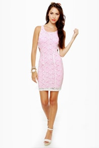 Party Rock Neon Pink Lace Dress at Lulus.com!