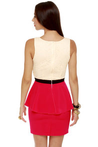 Scene It Red Color Block Dress at Lulus.com!