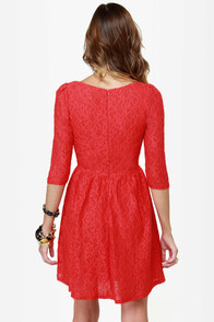 Sweet Melody Red Lace Dress at Lulus.com!