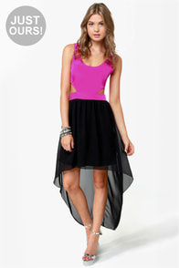 Get My Drift Fuchsia and Black Dress
