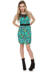 Crafty Kitten Teal Print Dress