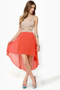 For Keeps Taupe and Orange Dress at Lulus.com!