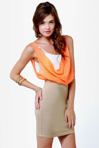 Triple Threat Orange and Taupe Dress at Lulus.com!