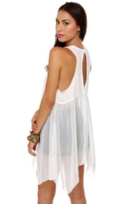 Softly Sweetly Sheer White Babydoll Dress at Lulus.com!