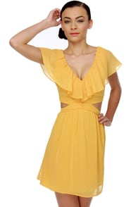Ruffle, Shuffle, and Roll Yellow Dress