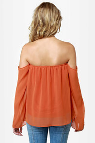 LULUS Exclusive Landslide Off-the-Shoulder Orange Top at Lulus.com!
