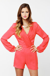 Have a Look-See Coral Romper