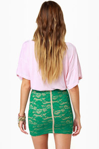 One Rad Girl Brooke Teal Lace Mini Skirt at Lulus.com!