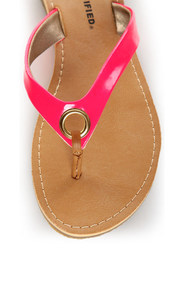 City Classified Micky Hot Pink Neon Flip-Flop Thong Sandals at Lulus.com!