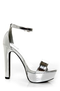 Metallic Silver Platform Heels | Tsaa Heel