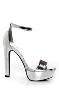 Qupid Drama 103 Silver Metallic Platform Heels
