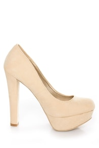 Qupid Marc 01 Nude Suede Platform Pumps at Lulus.com!