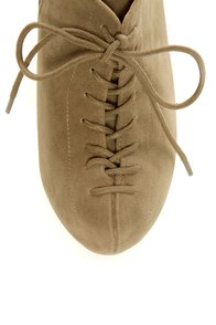 Qupid Theron 03 Taupe Suede Lace-Up Ankle Booties at Lulus.com!