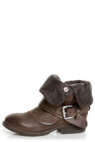 Report Woods Dark Brown Belted Convertible Motorcycle Boots