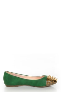 Shoe Republic LA Scion Green Spiked Cap-Toe Flats at Lulus.com!