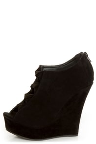 Yoki Miriam Black Cutout Peep Toe Shootie Wedges