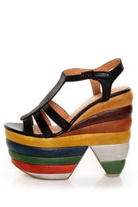 Zigi Girl Sundae Black Chunky Rainbow Platform Heels