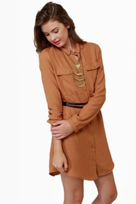 At Your Leisure Brown Belted Shirt Dress at Lulus.com!